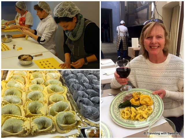 Fresh toretellini being made and enjoyed at Tortellini Remelli in Valeggio Sul Mincio, Italy