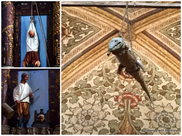 Unusual decor of the Sanctuary of the Blessed Virgin Mary -- Votive mannequins (left) Stuffed crocodile (right)
