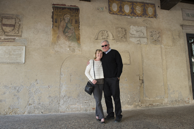 Admiring ancient frescoes in Asolo's city center -- Photo credit: Federica Donadi