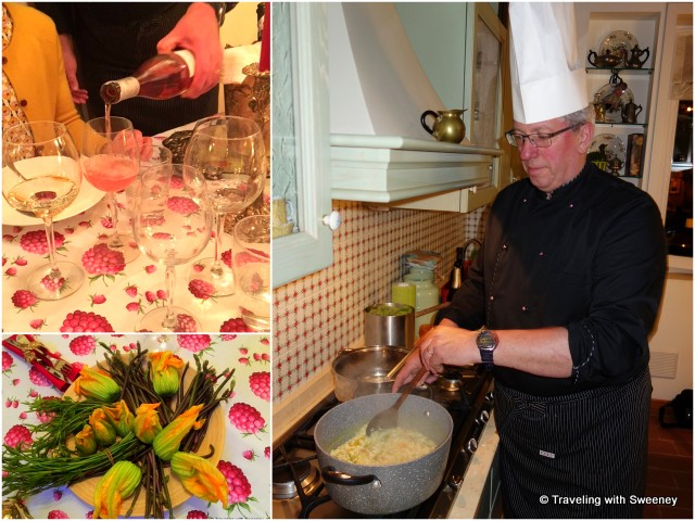 Chef Maurizio in the Elena apartment kitchen preparing Vialone Nano risotto (right), Tinchitè rosè wine and table decorations of fresh zucchini flowers