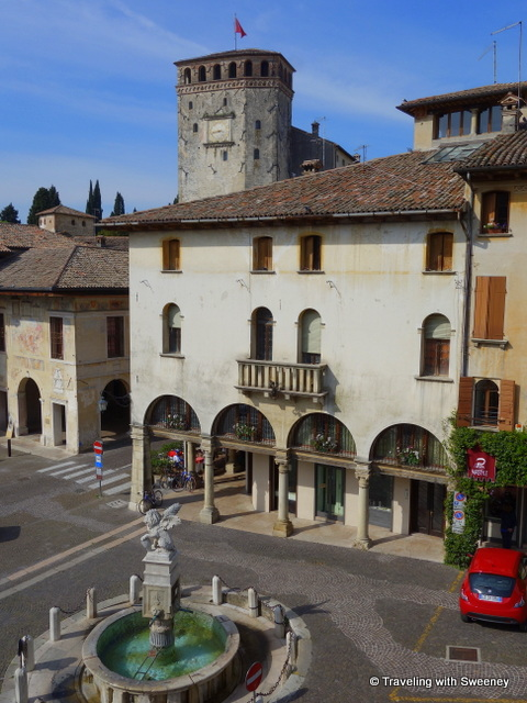"Queen Caterina Cornaro's Castle seen from our ""Elena"" apartment on Piazza Garibaldi in Asolo"