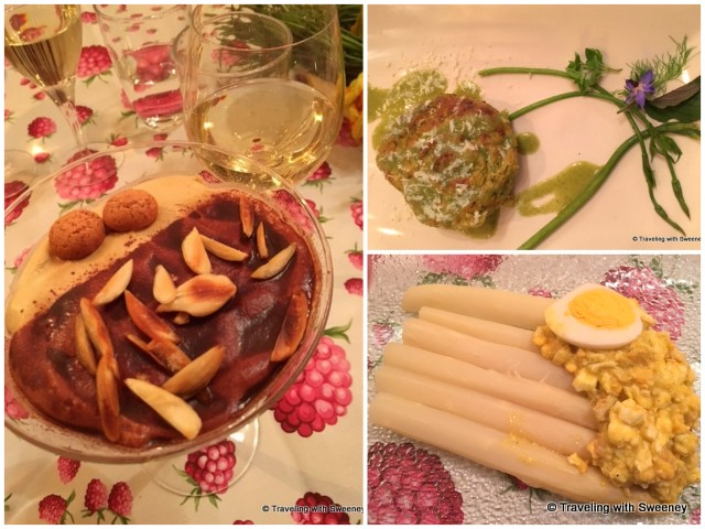 Dinner courses by Chef Maurizio Gallina in Asolo, Italy -- Herb, borage leaves and ricotta pie (top right), white asparagus and egg salad (bottom right), and delectable tiramisu