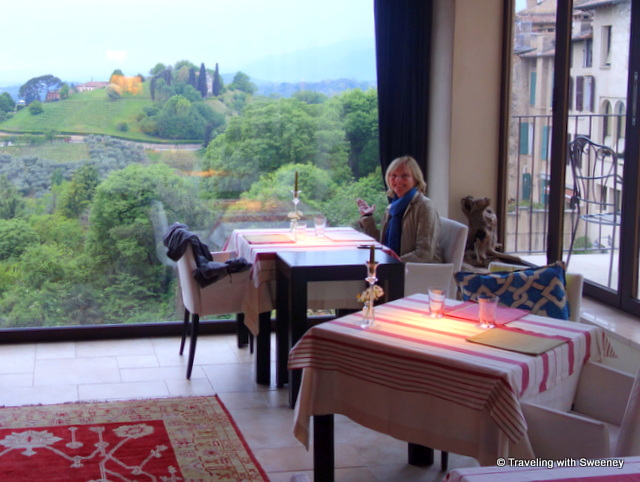 Dining with a view at Trattoria Moderna Due Mori in Asolo, Italy