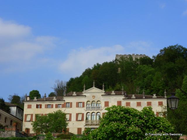 La Rocca atop Mount Ricco seen from Piazza Garibaldi