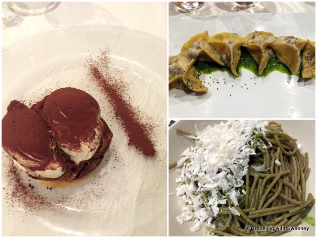 Perfect combination -- pasta and tiramisu (one of the best we've had) at Tappo Bar in Asolo, Italy
