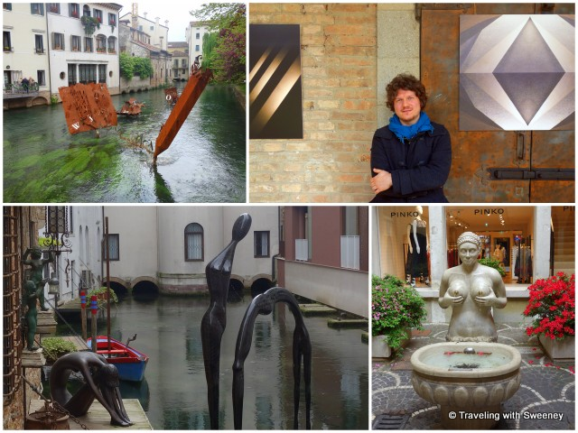 Art of Treviso -- sculptures on the river (left), photographer Alessandro Trevisin (top right), Fontana delle Tette (bottom right)