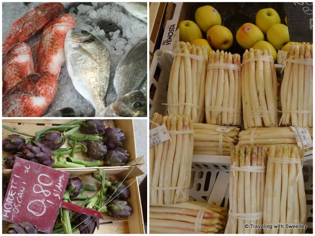 Fresh seafood, white asparagus, and artichokes -- specialties of the Veneto region of Itay