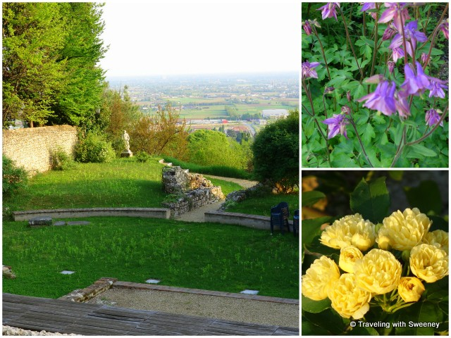 Flowers and Roman theater remnants at Villa Freya