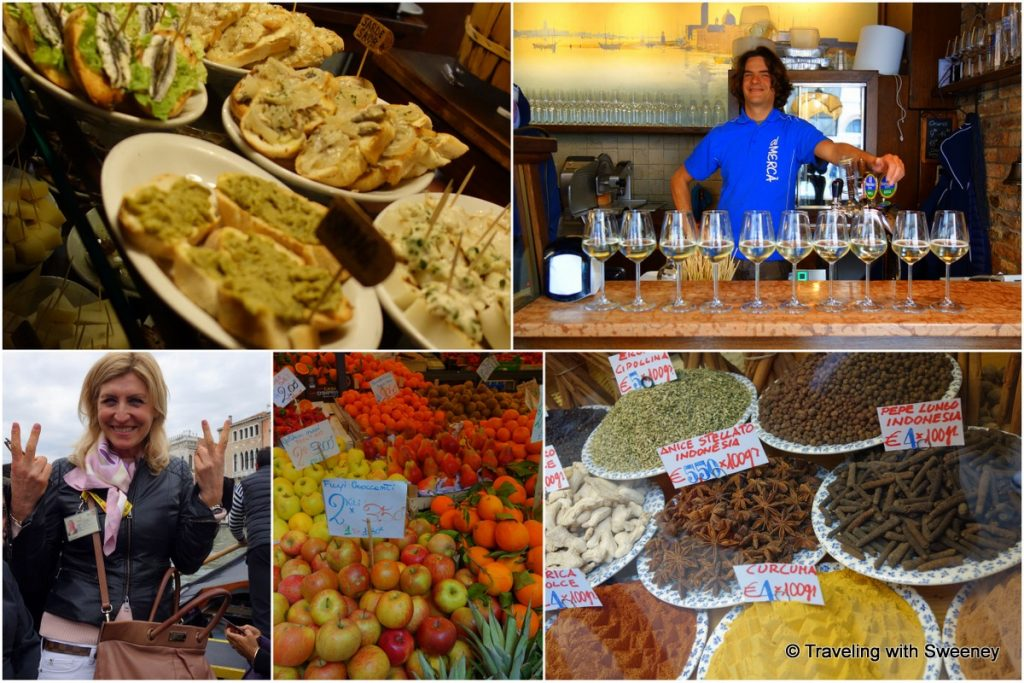 Getting a taste of Venice with our guide Cristina (bottom left) on a Walks of Italy Venice food tour