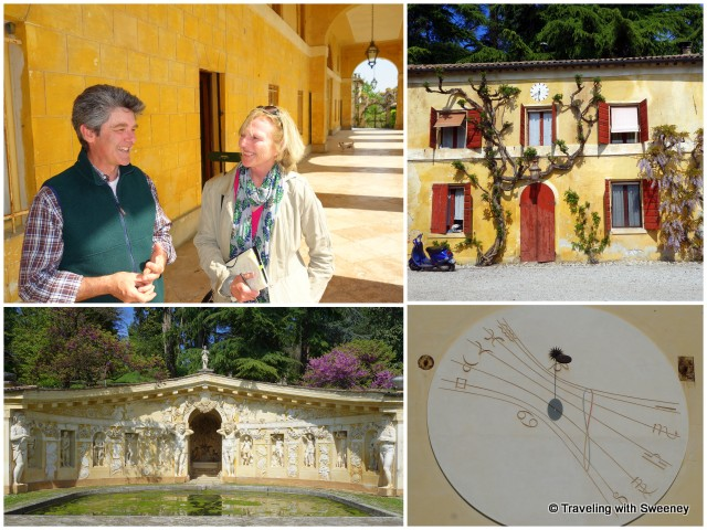 With Vittorio Dalle Ore, the estate winery, one of two sundials on the facade, the Nymphaeum at Villa di Maser in Maser, Italy