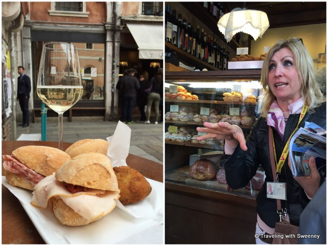Enjoying Prosecco and panini with our guide Cristina at Al Merca in Venice