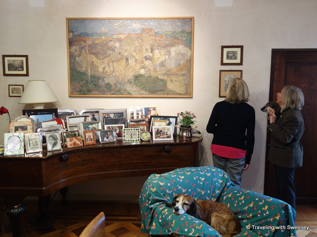 Admiring art and family portraits with the countess