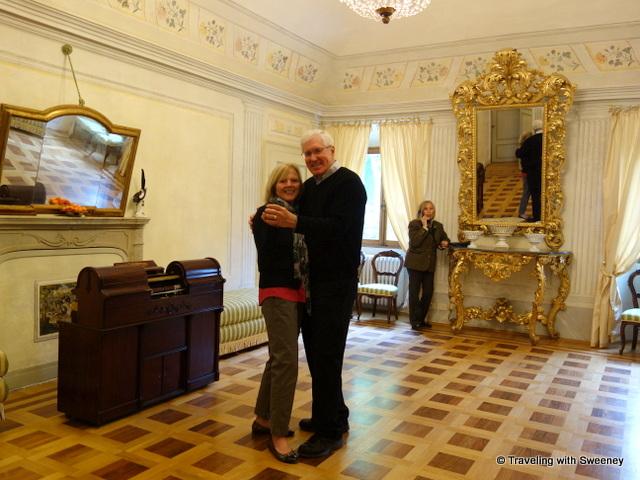 A little romance with a dance in the formal ballroom at Villa La Collina in Tredozio, Italy