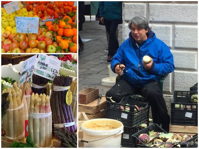 Vendor peeling artichokes; fresh, in-season produce at the market in Venice on the Walks of Italy food tour