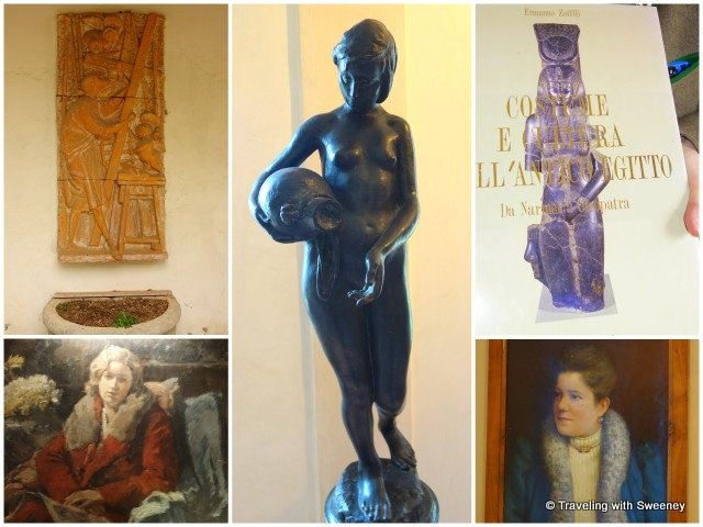 The artistic essence of Villa Collina -- paintings, sculptures, art book published by the countess (top right)