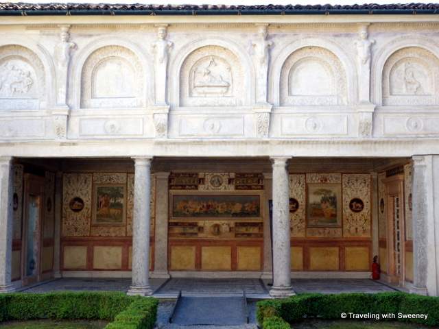 The loggia of the Apartment of the Secret Garden of Palazzo Te in Mantua, Italy