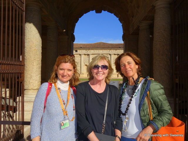 Catherine Sweeney (Traveling with Sweeney) with Giuliana Varina and Luisa Castiglioni at Palazzo Te in Mantua
