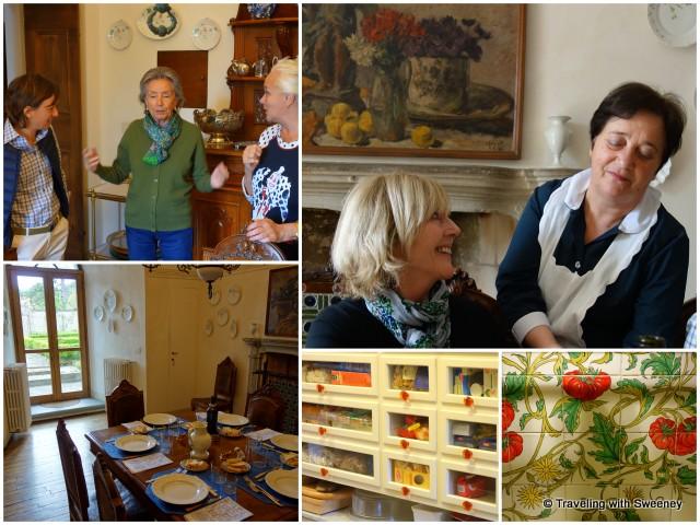 Lunch and conversation at Villa La Collina; exquisite touches of the villa's kitchen