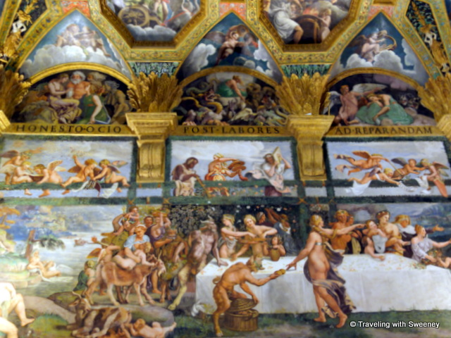 The wedding feast of Cupid and Psyche depicted in the Chamber of Cupid and Psyche at Palazzo Te in Mantua, Italy