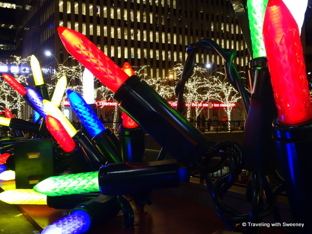 Giant Christmas lights decoration on Sixth Avenue -- New York City at Christmas