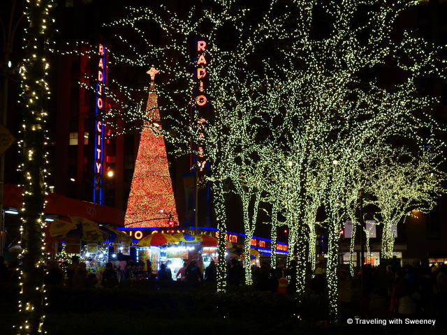 Christmas lights of Rockefeller Center and Radio City Music Hall, New York City at Christmas