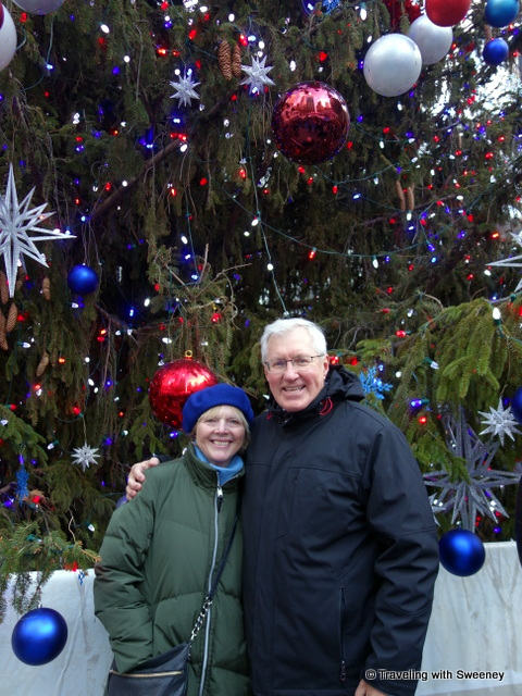 Sweeney and Mr. TWS in front of the Christmas tree at Bryant Park -- New York City at Christmas