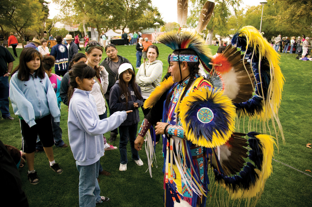Native Trails dancers talking to audience after the performances -- -- Photo courtesy of Scottsdale Convention & Visitors Bureau