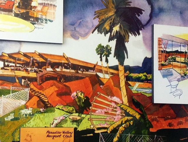 Drawings from the 1955 membership brochure for the Paradise Valley Racquet Club in Paradise Valley, Arizona