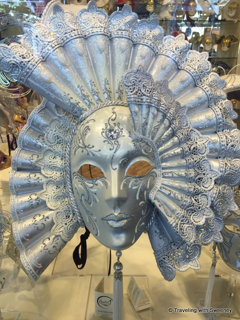 Gorgeous carnevale mask seen in a specialty shop in Venice, Italy