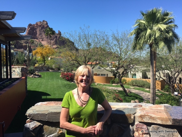 On the terrace of elements restaurant for lunch (Camelback Mountain in the background)
