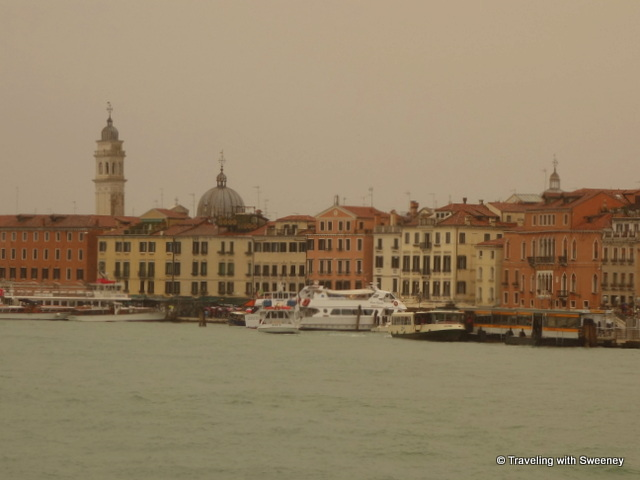 Approaching Venice in the rain --- springtime in Venice