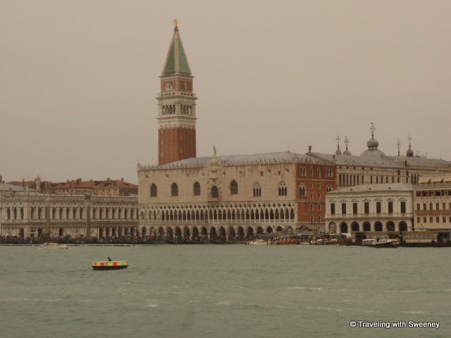 St. Mark's bell tower and the Doge's Palace seen from the boat as we approached Venice