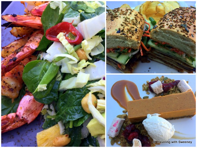 Lunch entrees at element restaurant at Sanctuary on Camelback Resort and Spa: Citrus shrimp salad, Pork Belly Sandwich, Pumpkin cheesecake