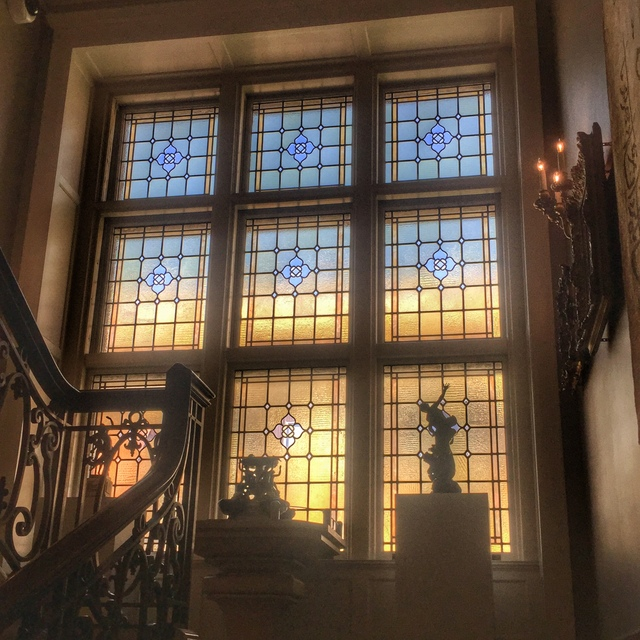 Gorgeous windows on the grand staircase at Charles Allis Art Museum