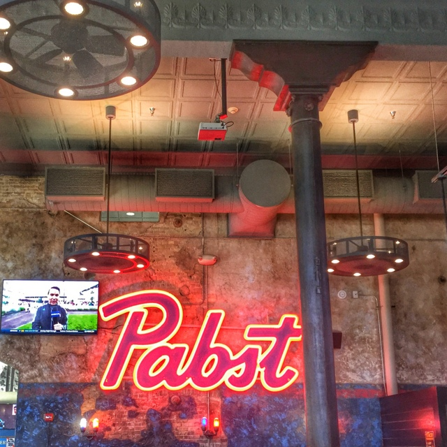 """Pabst"" in neon at Jackson's Blue Ribbon Pub"