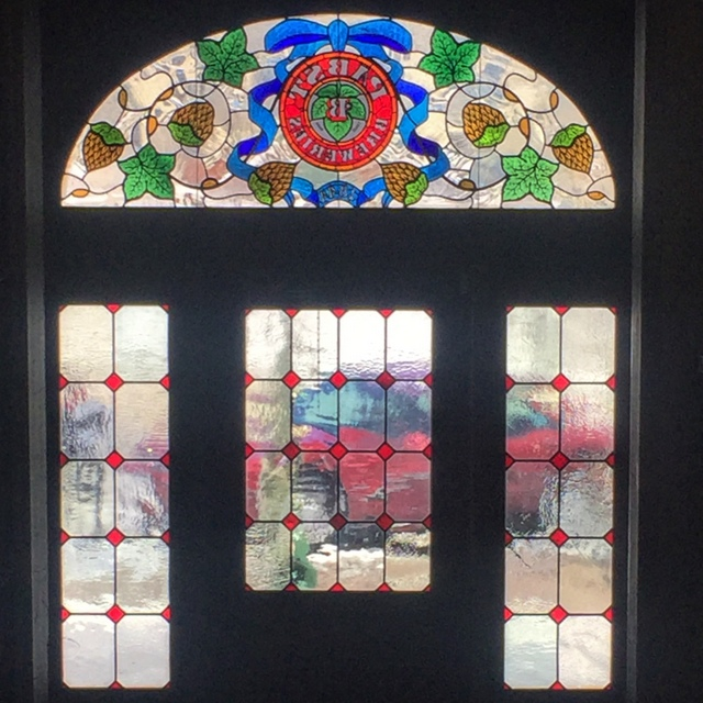 Stained glass windows at Best Place at the Historic Pabst Brewery in MIlwaukee