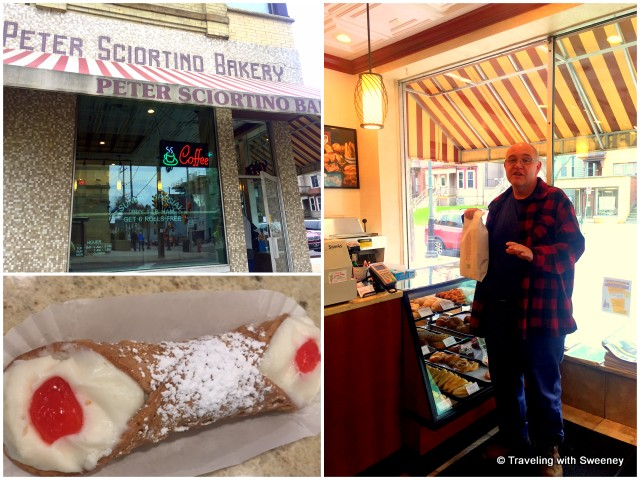 Talking to a satisfied customer and sampling a luscious cannoli at Peter Sciortino's Bakery